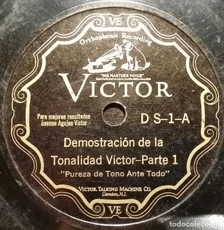 DISCO 78 RPM - VICTOR - DEMOSTRACION DE LA TONALIDAD VICTOR - ORQUESTA - RARO - PIZARRA (Música - Discos - Pizarra - Otros estilos)