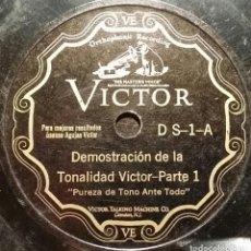 Discos de pizarra: DISCO 78 RPM - VICTOR - DEMOSTRACION DE LA TONALIDAD VICTOR - ORQUESTA - RARO - PIZARRA. Lote 149786894