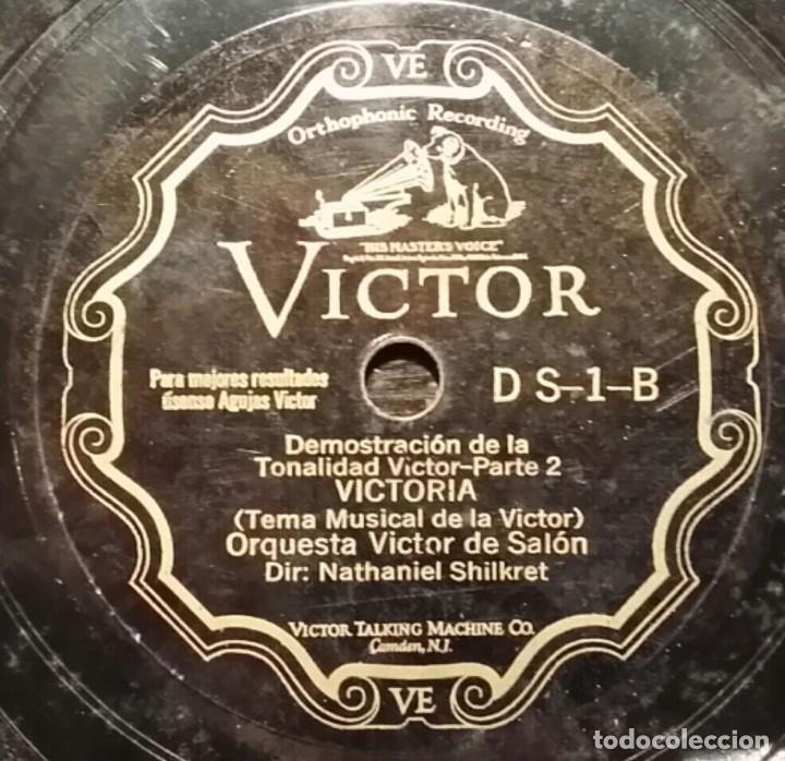Discos de pizarra: DISCO 78 RPM - VICTOR - DEMOSTRACION DE LA TONALIDAD VICTOR - ORQUESTA - RARO - PIZARRA - Foto 2 - 149786894