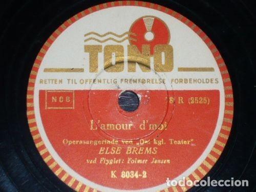 DISCO 78 RPM - TONO - ELSE BREMS - PLAISIR D´AMOUR - L´AMOUR D´MOI - DINAMARCA - JENSEN - PIZARRA (Música - Discos - Pizarra - Solistas Melódicos y Bailables)