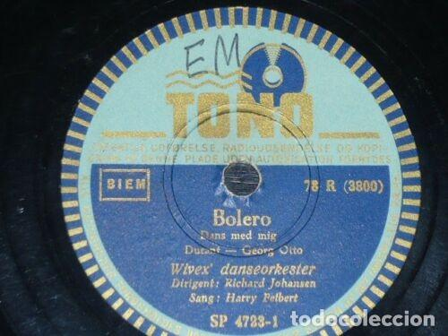 Discos de pizarra: DISCO 78 RPM - TONO - HARRY FELBERT - WIVEX DANSEORKESTER - BOLERO - DINAMARCA - PIZARRA - Foto 2 - 149804134