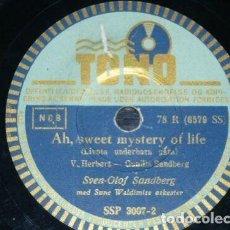 Discos de pizarra: DISCO 78 RPM - TONO - SVEN-OLOF SANDBERG - DINAMARCA - AH, SWEET MISTERY OF LIFE - PIZARRA. Lote 149869722
