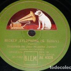 Discos de pizarra: DISCO 78 RPM - GRAMOFONO - ORQUESTA JAZZ MUSETTE JUNIORI - DISNEY - MICKEY XYLOPHONE - PIZARRA. Lote 149871258
