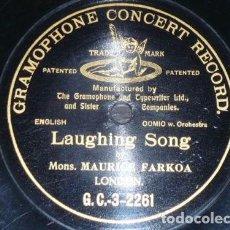 Discos de pizarra: DISCO 78 RPM - G&T BLACK - MAURICE FARKOA - COMICO - LONDRES - LAUGHING SONG - PIZARRA. Lote 149916838