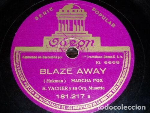 DISCO 78 RPM - ODEON - E. VACHER - ORQUESTA MUSETTE - MARCHA FOX - FRANCIA - PIZARRA (Música - Discos - Pizarra - Jazz, Blues, R&B, Soul y Gospel)
