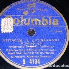 Disques en gomme-laque: DISCO 78 RPM - COLUMBIA - BANDA REGIMIENTO SAN MARCIAL Nº 22 BURGOS - FASCISMO - MARCHAS - PIZARRA. Lote 150087102