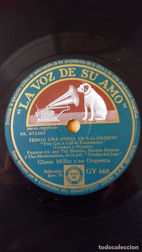 DISCO 78 RPM - VSA - GLENN MILLER - ORQUESTA - VIUDAS DEL JAZZ - FILM - SERENATA EN AZUL - PIZARRA (Música - Discos - Pizarra - Jazz, Blues, R&B, Soul y Gospel)
