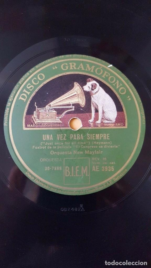 DISCO 78 RPM - GRAMOFONO - ORQUESTA NEW MAYFAIR - EL CONGRESO SE DIVIERTE - FILM - HEYMANN - PIZARRA (Música - Discos - Pizarra - Bandas Sonoras y Actores )