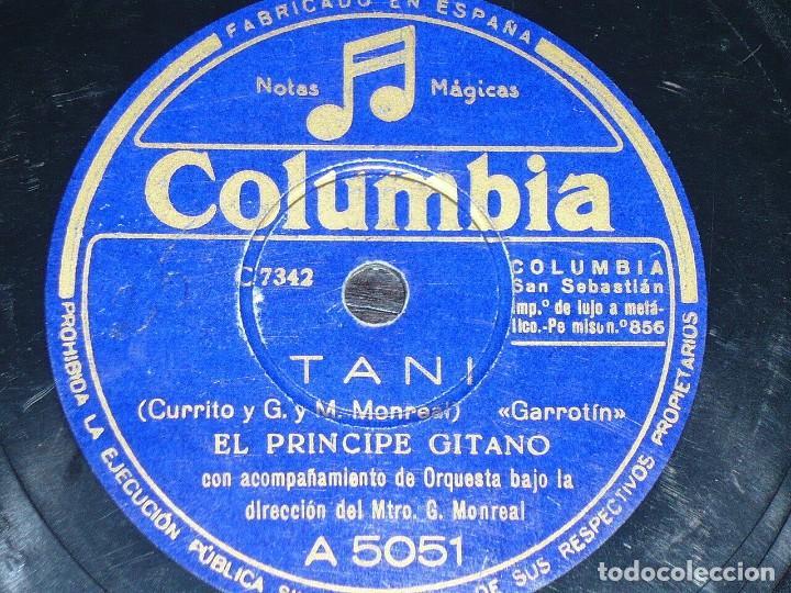 DISCO 78 RPM - COLUMBIA - EL PRINCIPE GITANO - ANTONIO VARGAS - GUITARRA - TANI - GARROTIN - PIZARRA (Música - Discos - Pizarra - Flamenco, Canción española y Cuplé)