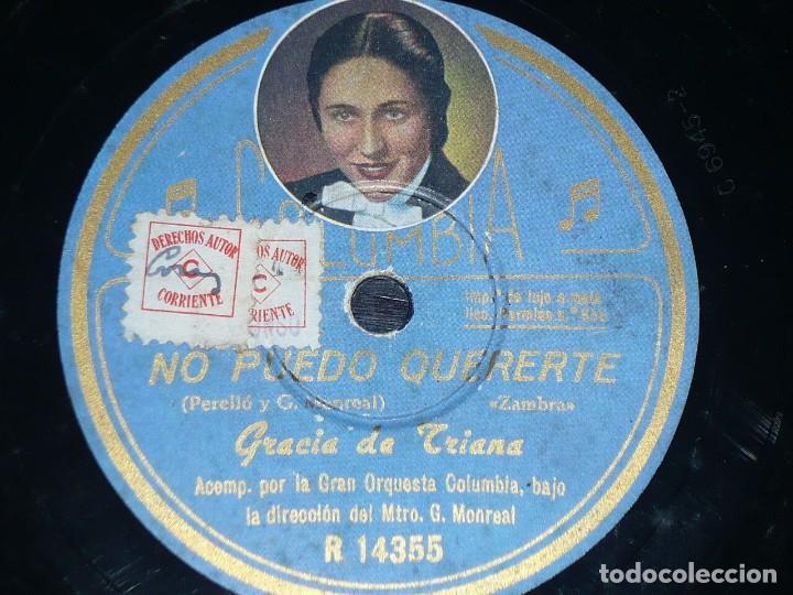 DISCO 78 RPM - COLUMBIA FOTO - GRACIA DE TRIANA - ORQUESTA - NO PUEDO QUERERTE - ZAMBRA - PIZARRA (Música - Discos - Pizarra - Flamenco, Canción española y Cuplé)