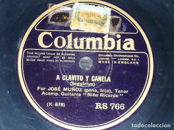 DISCO 78 RPM - COLUMBIA - PENA HIJO - NIÑO RICARDO - GUITARRA - MALAGUEÑA - SEGUIRIYA - PIZARRA (Música - Discos - Pizarra - Flamenco, Canción española y Cuplé)