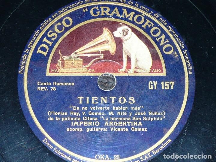 DISCO 78 RPM - GRAMOFONO - IMPERIO ARGENTINA - VICENTE GOMEZ - SEVILLANAS - TIENTOS - PIZARRA (Música - Discos - Pizarra - Flamenco, Canción española y Cuplé)