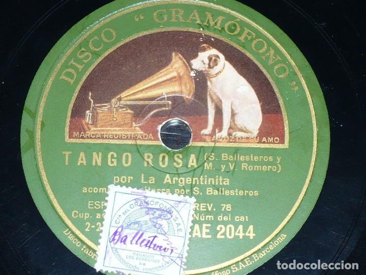 DISCO 78 RPM - GRAMOFONO - LA ARGENTINITA - BALLESTEROS - GUITARRA - TANGO ROSA - PIZARRA (Música - Discos - Pizarra - Flamenco, Canción española y Cuplé)