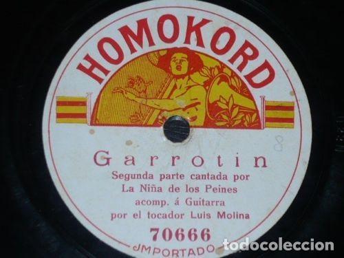 DISCO 78 RPM - HOMOKORD - NIÑA DE LOS PEINES - LUIS MOLINA - GUITARRA - TANGO - GARROTÍN - PIZARRA (Música - Discos - Pizarra - Flamenco, Canción española y Cuplé)