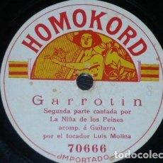 Discos de pizarra - DISCO 78 RPM - HOMOKORD - NIÑA DE LOS PEINES - LUIS MOLINA - GUITARRA - TANGO - GARROTÍN - PIZARRA - 150737750