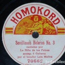 Discos de pizarra: DISCO 78 RPM - HOMOKORD - NIÑA DE LOS PEINES - GUITARRA - SOLEARES - SEVILLANAS BOLERAS - PIZARRA. Lote 150739102