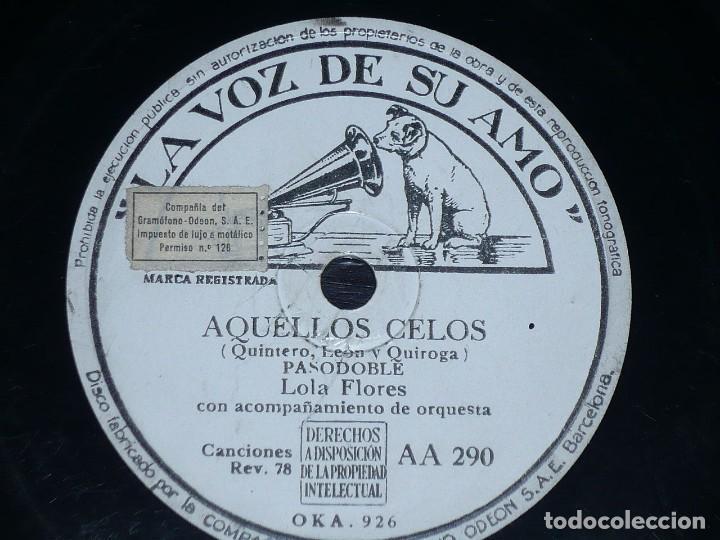 DISCO 78 RPM - VSA - LOLA FLORES - ORQUESTA - LA RUÑIDERA - AQUELLOS CELOS - PIZARRA (Música - Discos - Pizarra - Flamenco, Canción española y Cuplé)