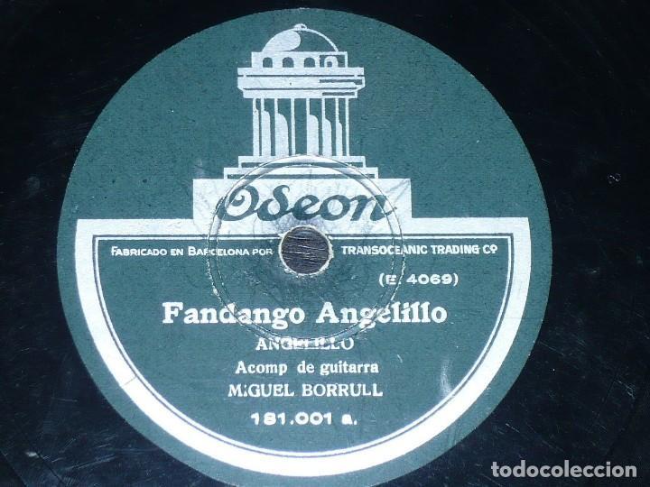 DISCO 78 RPM - ODEON - ANGELILLO - MIGUEL BORRULL - GUITARRA - FANDANGO - TARANTA - PIZARRA (Música - Discos - Pizarra - Flamenco, Canción española y Cuplé)