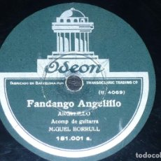 DISCO 78 RPM - ODEON - ANGELILLO - MIGUEL BORRULL - GUITARRA - FANDANGO - TARANTA - PIZARRA