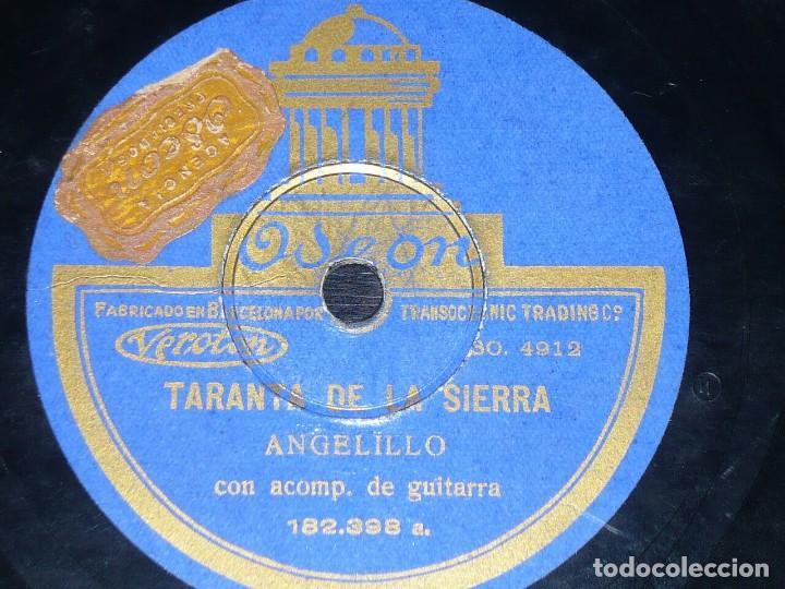 DISCO 78 RPM - ODEON - ANGELILLO - GUITARRA - TARANTA DE LA SIERRA - MILONGA - PIZARRA (Música - Discos - Pizarra - Flamenco, Canción española y Cuplé)