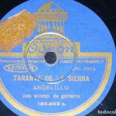 DISCO 78 RPM - ODEON - ANGELILLO - GUITARRA - TARANTA DE LA SIERRA - MILONGA - PIZARRA