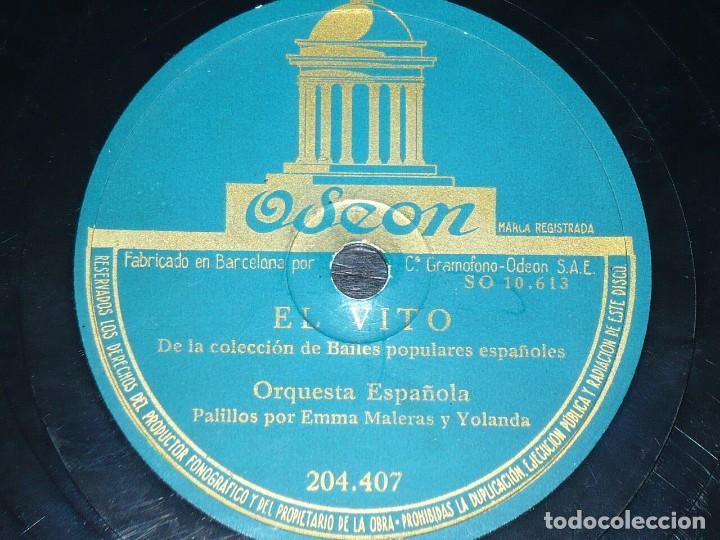 DISCO 78 RPM - ODEON - ORQUESTA ESPAÑOLA - EMMA MALERAS Y YOLANDA - PALILLOS - EL VITO - PIZARRA (Música - Discos - Pizarra - Flamenco, Canción española y Cuplé)