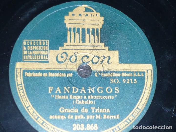 DISCO 78 RPM - ODEON - GRACIA DE TRIANA - GUITARRA - FANDANGOS - NOCHEBUENA GITANA - PIZARRA (Música - Discos - Pizarra - Flamenco, Canción española y Cuplé)