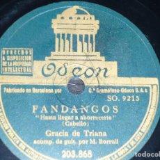 DISCO 78 RPM - ODEON - GRACIA DE TRIANA - GUITARRA - FANDANGOS - NOCHEBUENA GITANA - PIZARRA
