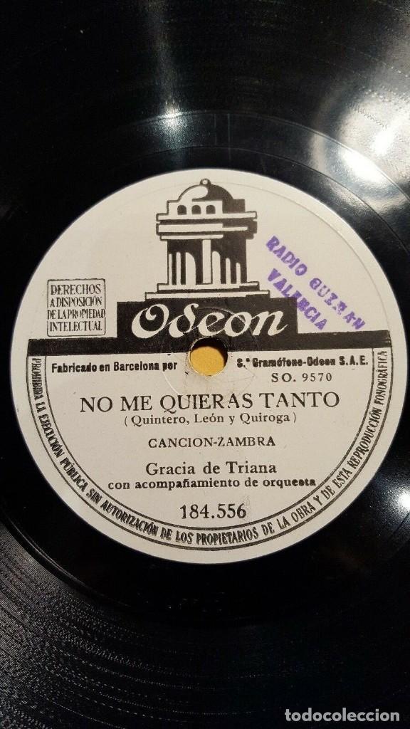 DISCO 78 RPM - ODEON - GRACIA DE TRIANA - ORQUESTA - ZAMBRA - BULERIAS - PIZARRA (Música - Discos - Pizarra - Flamenco, Canción española y Cuplé)