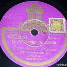 Discos de pizarra: DISCO 78 RPM - ODEON - LA ARGENTINA - PALILLOS - ORQUESTA - EL FANDANGO DE CANDIL - BOLERO - PIZARRA. Lote 150750390