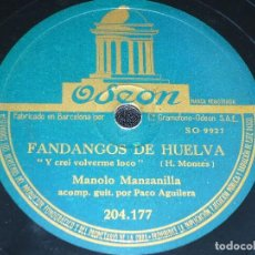 Discos de pizarra: DISCO 78 RPM - ODEON - MANOLO MANZANILLA - PACO AGUILERA - GUITARRA - ALEGRIAS - FANDANGOS - PIZARRA. Lote 150751282