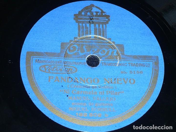 DISCO 78 RPM - ODEON - MANUEL VALLEJO - BORRULL - GUITARRA - FANDANGO GITANO - PIZARRA (Música - Discos - Pizarra - Flamenco, Canción española y Cuplé)
