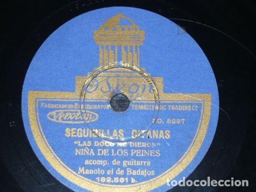 DISCO 78 RPM - ODEON - NIÑA DE LOS PEINES - GUITARRA - PETENERA - SEGUIDILLAS GITANAS - PIZARRA (Música - Discos - Pizarra - Flamenco, Canción española y Cuplé)