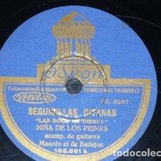 Discos de pizarra: DISCO 78 RPM - ODEON - NIÑA DE LOS PEINES - GUITARRA - PETENERA - SEGUIDILLAS GITANAS - PIZARRA. Lote 150755046