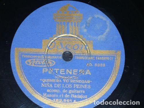 Discos de pizarra: DISCO 78 RPM - ODEON - NIÑA DE LOS PEINES - GUITARRA - PETENERA - SEGUIDILLAS GITANAS - PIZARRA - Foto 2 - 150755046