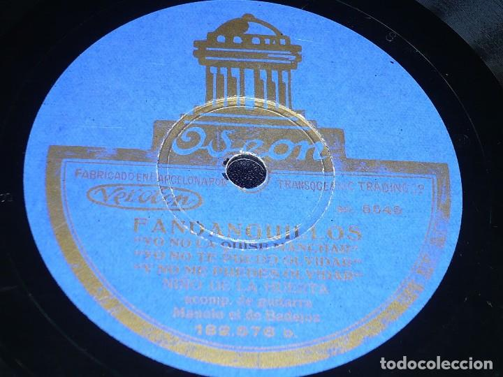 DISCO 78 RPM - ODEON - NIÑO DE LA HUERTA - M. BADAJOZ - GUITARRA - MILONGA - FANDANGUILLOS - PIZARRA (Música - Discos - Pizarra - Flamenco, Canción española y Cuplé)