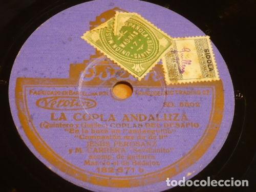 DISCO 78 RPM - ODEON - PEROSANZ - SEVILLANITO - M. BADAJOZ - GUITARRA - LA COPLA ANDALUZA - PIZARRA (Música - Discos - Pizarra - Flamenco, Canción española y Cuplé)