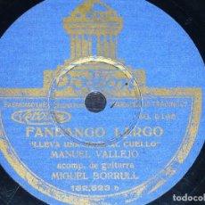 Discos de pizarra - DISCO 78 RPM - ODEON - MANUEL VALLEJO - BORRULL - GUITARRA - GRANADINA - FANDANGO LARGO - PIZARRA - 150921198