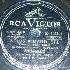Discos de pizarra: DISCO 78 RPM - RCA VICTOR - ANGELILLO - ORQUESTA - ADIOS A MANOLETE - BULERIAS - EL TRECE - PIZARRA. Lote 151072762