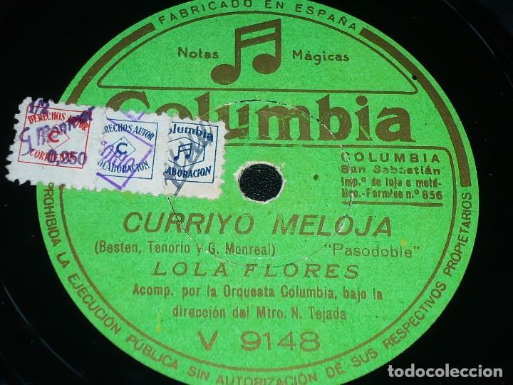 DISCO 78 RPM - COLUMBIA - LOLA FLORES - ORQUESTA - POR ESA VEREA - CURRIYO MELOJA - PIZARRA (Música - Discos - Pizarra - Flamenco, Canción española y Cuplé)