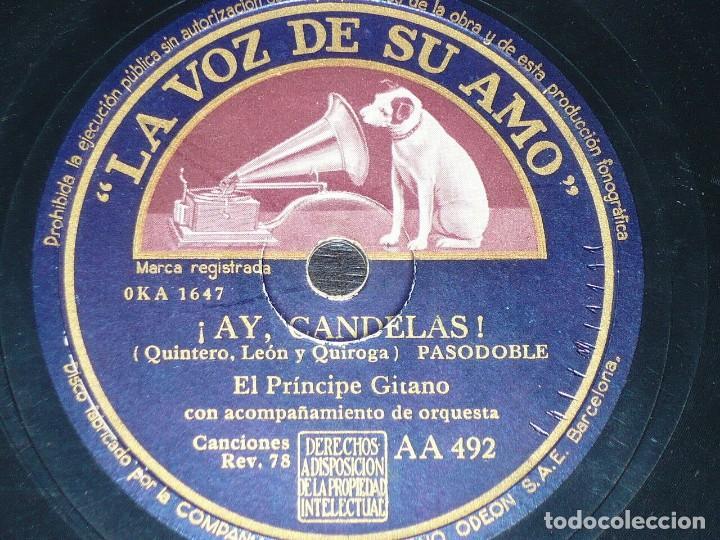 DISCO 78 RPM - VSA - EL PRINCIPE GITANO - ORQUESTA - ¡AY, CANDELAS! - GARROTIN - PIZARRA (Música - Discos - Pizarra - Flamenco, Canción española y Cuplé)