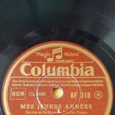 Discos de pizarra: DISCO 78 RPM - COLUMBIA - CHARLES TRENET - FRANCIA - MES JEUNES ANNEES - OHE! PARIS - PIZARRA. Lote 151197430