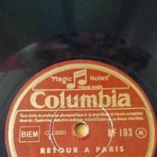 Discos de pizarra: DISCO 78 RPM - COLUMBIA - CHARLES TRENET - FRANCIA - RETOUR A PARIS - RETOUR DES SAISONS - PIZARRA. Lote 151199602