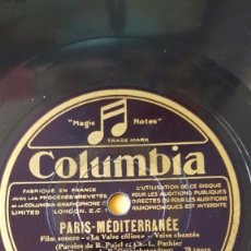 Discos de pizarra: DISCO 78 RPM - COLUMBIA - JANE DUCRAY - ADRIEN LAMY - FRANCIA - FILM - PARIS MEDITERRANEE - PIZARRA. Lote 151284118