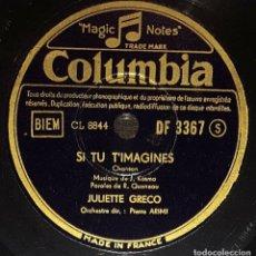 Discos de pizarra: DISCO 78 RPM - COLUMBIA - JULIETTE GRECO - CHANSON - SI TU T´IMAGINES - LA FOURMI - RARO - PIZARRA. Lote 151286946