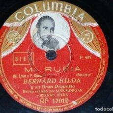 Discos de pizarra: DISCO 78 RPM - COLUMBIA FOTO - BERNARD HILDA - FRANCIA - LAS HOJAS MUERTAS - MI RUBIA - PIZARRA. Lote 151293814
