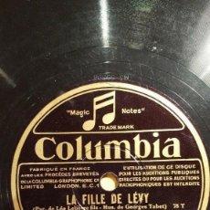 Discos de pizarra: DISCO 78 RPM - COLUMBIA - PILLS - TABET - CASINO DE PARIS - PIANO - LA FILLE DE LEVY - PIZARRA. Lote 151295510