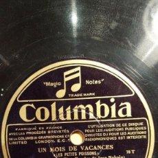 Discos de pizarra: DISCO 78 RPM - COLUMBIA - PILLS - TABET - UN MOIS DE VACANCES - MIREILLE - SABLON - PIANO - PIZARRA. Lote 151296638