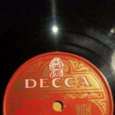 Discos de pizarra: DISCO 78 RPM - DECCA - LILI BONTEMPS - ORQUESTA - FRANCIA - FILM - LE BAGNARD - LEGRAND - PIZARRA. Lote 151354490