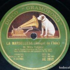 Discos de pizarra: DISCO 78 RPM - GRAMOFONO - WILLY TUBIANA - BAJO - OPERA - LA MARSELLESA - MARCHA LORENA - PIZARRA. Lote 151356086